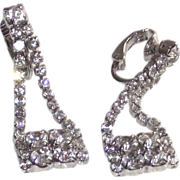 "SALE ""Purse"" Shaped Earrings White Metal Clear Rhinestones Clip Style"
