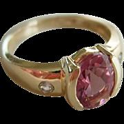 Bubble Gum Pink Tourmaline 1.5 ct with Diamonds 14Kt Gold sz 6