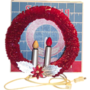 SOLD Christmas Lighted Cellophane Halo Double Candle Wreath in Original Box