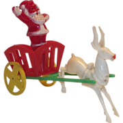 Hard Plastic Santa in Cart - Reindeer Candy Container  E. Rosen 1950s