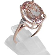SALE 5.5 Ct. Morganite Ring sz 5.5 10 Kt Rose Gold