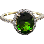 SOLD Chrome Diopside 2.75ctw With White Zircon .33ctw 10k Yellow Gold Ring