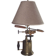 Industrial Brass Blow Torch Lamp with Natural Fiber Shade