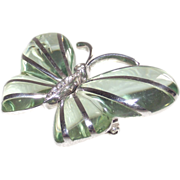 SALE Sterling Overlay on Green Apple Bakelite Butterfly Brooch