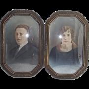 Circa 1915 Matched Pair Barbola Style Frames - Princess Cut - Convex Glass