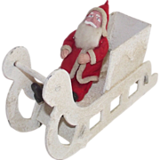 Clay Face Santa in Mica Covered Sleigh Mid - Century