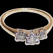 14 Kt Past Present Future Diamond Ring Sz. 4.75