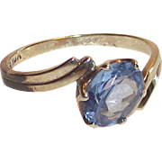 10 Kt Yellow Gold Bypass Ring with Sky Blue Topaz  sz7