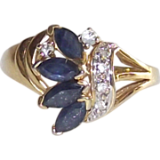 Sapphire and Diamond Spray Style Ring sz 8.5