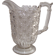Early American Pattern Glass Currier & Ives Water Pitcher  circa 1880