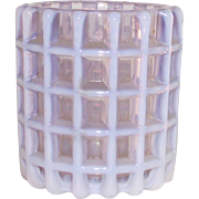 A J Beatty Opalescent Waffle Or Honeycomb Toothpick Holder