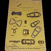 Salesmans Sample Shoe Decorations Adornments Complete Card