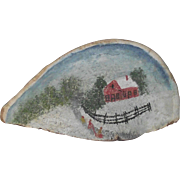 Fungus Art Painting of Children on Sled Walking up an Icy Road