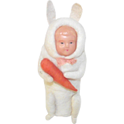 Spun Cotton Bunny with Celluloid Face Candy Container