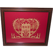 SALE PENDING Scherenschnitte American Paper Cut of Heart with Home – Man – Woman – Horse