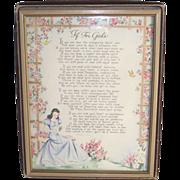 "SOLD Framed ""If"" For Girls Original Frame and Box  circa 1940"