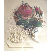 Moss Roses Painting on Embossed Celluloid Framed in 1880s Victorian Frame
