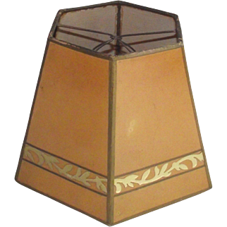 Parchment Shade with Gold Leaf Decoration for Small Table Lamp