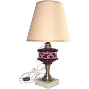 Cranberry and Frosted Font Kerosene Lamp Converted to Electricity - Not Drilled