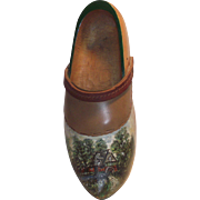 Hand Painted Adult Dutch Wooden Shoe - Water Mill