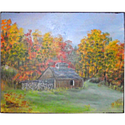 Vermont Sugar House Oil on Board Signed and Dated  Ross Davis