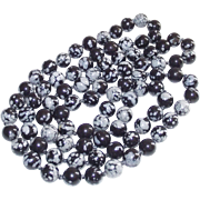 """Black and Gray Dragon Agate Beads 31"""" Long"""