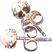 14Kt Yellow Gold Tiny Pearl Earrings Post and Clutch Style