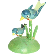 German Erzgebirge Mother and Baby Blue Bird Doll House – Bird House – Size