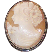 925 Sterling Frame Shell Cameo Brooch