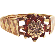 9kt Yellow Gold Victorian Garnet and Diamond Ring sz 5
