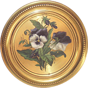 Hand Painted Purple and White Pansies Brass Flue Cover