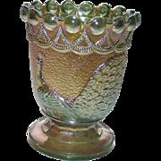 Green Carnival Glass Peacock Open Sugar  -  Spooner