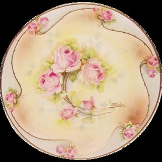 Royal Rudolstadt Plate   Artist Signed   Pink Roses