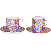 English Chintz Demi Tasse Cup and Saucer  by: Collingwood