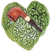 Majolica Pipe Rest Heart Shape Plate