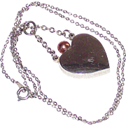Silver Heart Perfume Pendant with Rose Gold Tone Dauber and Top