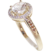 10 Kt Yellow Gold  1Kt + White Zircon with Red Diamonds sz. 8