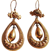 Victorian Gold Fill Dangle Earrings with Etruscan Work