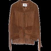 Vintage Ladies Cow Leather Western Fringe Jacket