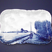 SOLD Crown Rosenthal Blue Delft Tray Canal – Sailboat - Cottage  c.1899