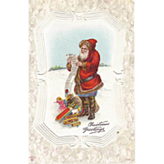 Signed P Sander Santa Post Card GREAT TOYS and the List