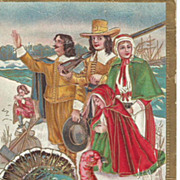 Thanksgiving Turkey with Pilgrims Embossed - Outlined in Gold - Mayflower