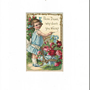 Embossed Edwardian Girl with Roses Writing Message to Her Papa