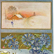 Scenic & Embossed Floral Happy News Years Post Card