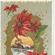 Embossed New Years Post Card Pointsettas