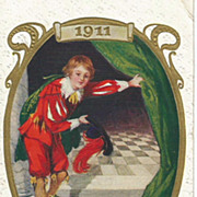 Embossed Handsome Young Man New Years Post Card
