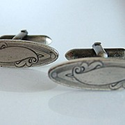 Silver Plate Ladies Victorian Cuff Links