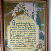 """SOLD 1920's Framed """"My Creed""""  Signed Motto Print"""