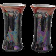 Royal Staffordshire Potteries Wilkinson Pair Lustre Vases C. 1907