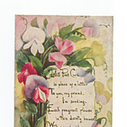 Artist Signed L.F.Pease WONDERFUL Sweet Peas Floral Message card